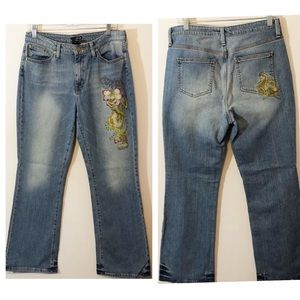 a.n.a. Embroidered floral high waist jeans 10